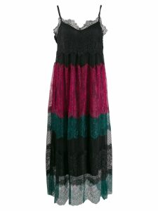 Twin-Set colour block lace dress - Black