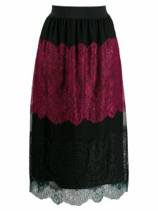 Twin-Set colour block lace skirt - Black
