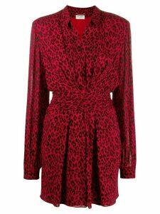 Saint Laurent leopard print dress - Red