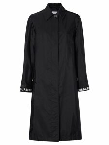 Burberry logo striped trench coat - Black