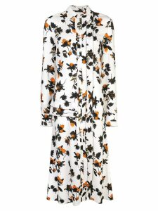 Derek Lam Floating Floral Long Sleeve Maxi Shirt Dress with Pleats -