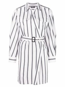 Derek Lam Long Sleeve Asymmetrical Bold Striped Placket Shirt Dress -