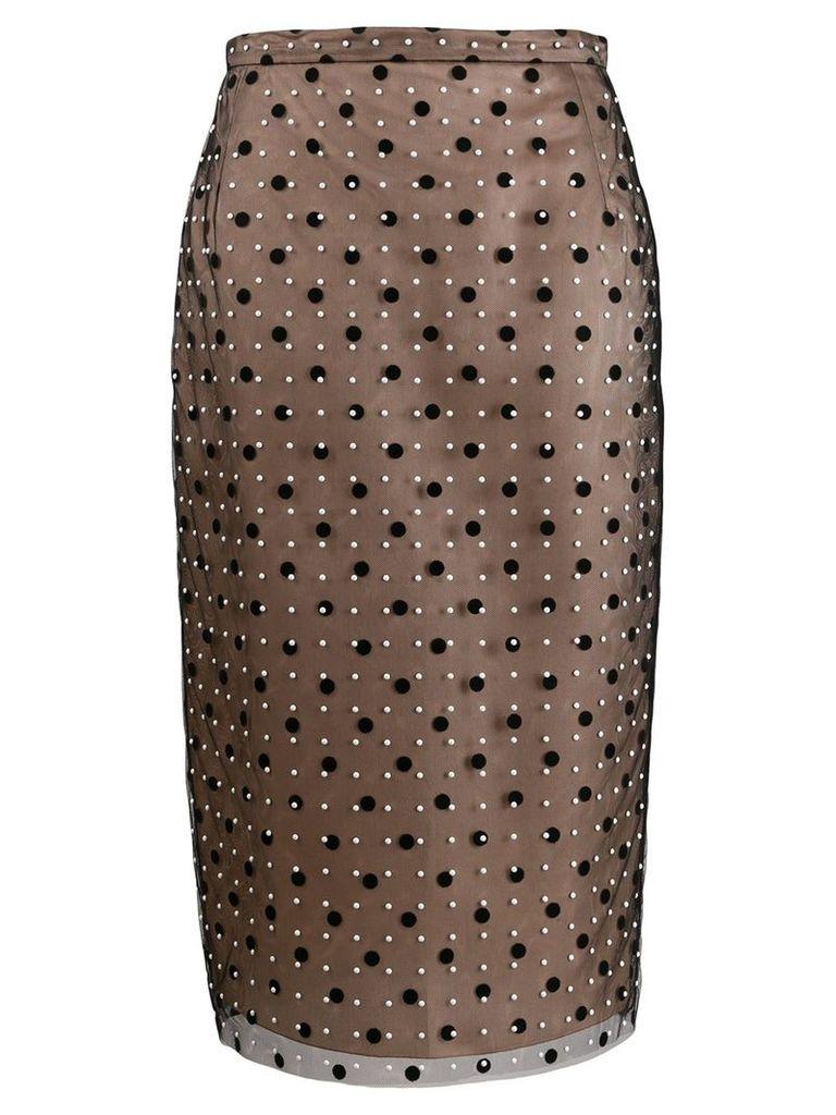 Nº21 polka dot pencil skirt - Black