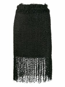 MSGM fringed tweed skirt - Black
