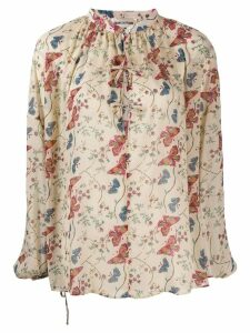 Semicouture floral-print tie-neck blouse - Neutrals