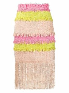 MSGM colour block fringed tweed skirt - Pink