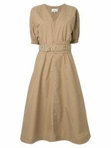 3.1 Phillip Lim Puff Sleeve Belted Dress - Brown