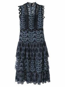 Sea embroidered midi dress - Blue