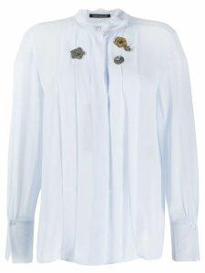 Luisa Cerano pleated bib mandarin collar shirt - Blue