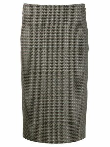 Luisa Cerano houndstooth straight skirt - Black
