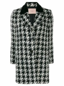 Twin-Set houndstooth pattern coat - Black