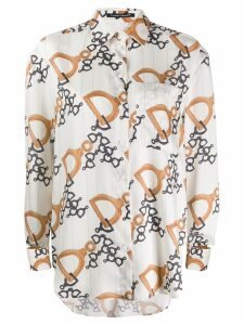 Luisa Cerano cuff pattern shirt - White