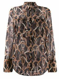 Luisa Cerano sheer chain print shirt - Black