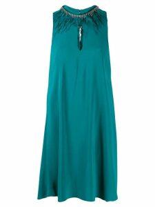 Twin-Set embellished neck dress - Green