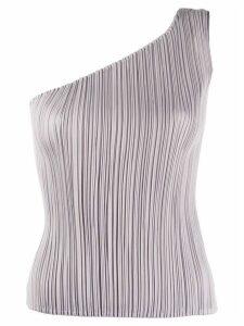 Pleats Please Issey Miyake one-shoulder pleated top - Grey
