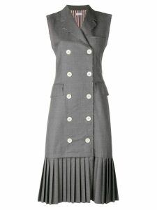 Thom Browne Pleated Wool Chesterfield Dress - Grey