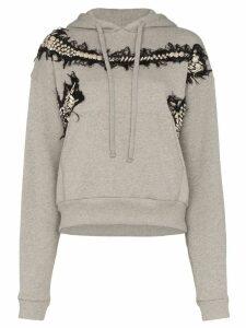 Charles Jeffrey Loverboy appliqué embroidered hoodie - Grey