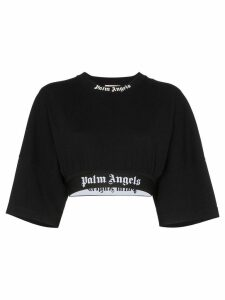 Palm Angels logo tape cropped T-shirt - Black