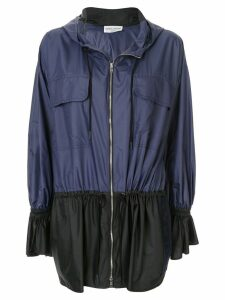 Sonia Rykiel zipped hooded parka coat - Blue
