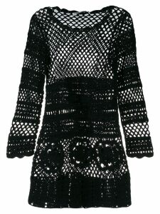 Self-Portrait crochet knit dress - Black