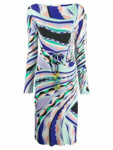 Emilio Pucci belted midi geometric dress - Blue