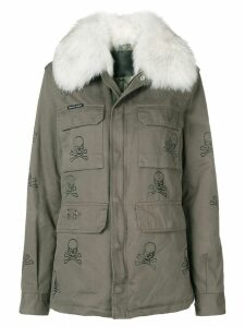 Philipp Plein skull embellished coat - Green