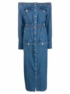 Balmain off-the-shoulder buttoned denim dress - Blue