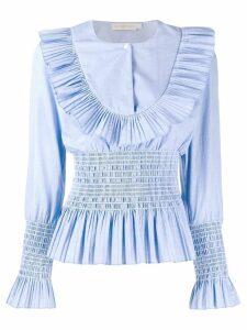 Tory Burch pleated long sleeve shirt - Blue