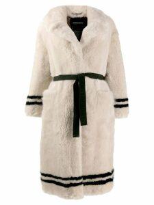 Ermanno Scervino faux-fur belted coat - NEUTRALS
