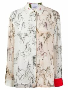 Burberry contrast unicorn print twill shirt - Neutrals