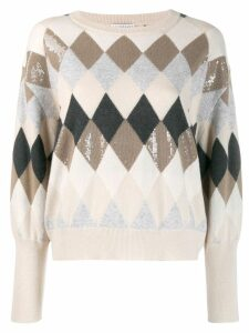 Brunello Cucinelli argyle knit sweater - Neutrals