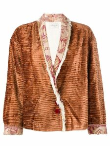 Forte Forte ribbed jacket with fringed trim - Brown