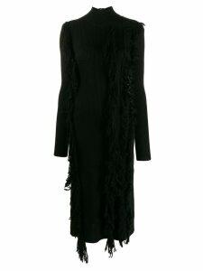 David Koma distressed long-sleeve dress - Black
