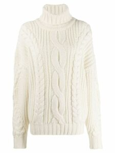 Circus Hotel chunky knit rollneck sweater - Neutrals
