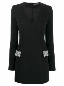 David Koma embellished pocket dress - Black