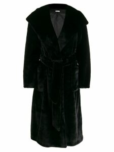 P.A.R.O.S.H. belted faux-fur coat - Black