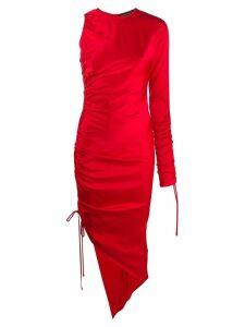 David Koma ruched asymmetric dress - Red