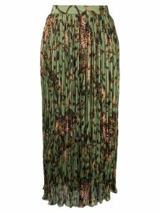 Johanna Ortiz jungle-print pleated skirt - Green
