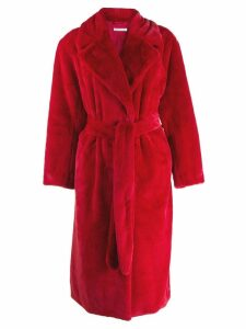 P.A.R.O.S.H. belted faux-fur coat - Red
