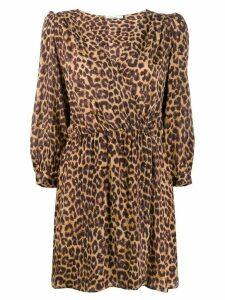 Mes Demoiselles panther print wrap dress - Brown