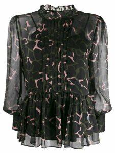 Emporio Armani floaty camouflage-print blouse - Black