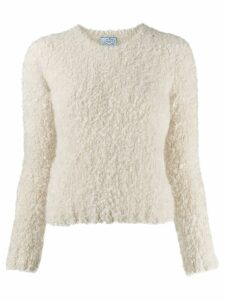 Prada fuzzy knit crewneck jumper - White