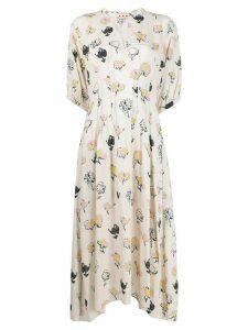 Marni floral printed flared dress - NEUTRALS