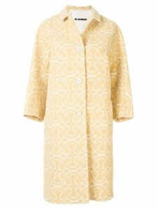 Jil Sander paisley single breasted coat - White
