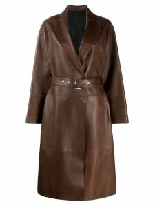 Brunello Cucinelli belted leather coat - Brown