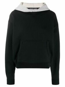 T By Alexander Wang layered cropped hoodie - Black