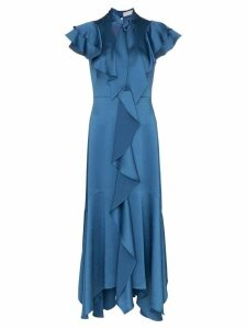 Peter Pilotto tie-neck ruffled dress - Blue