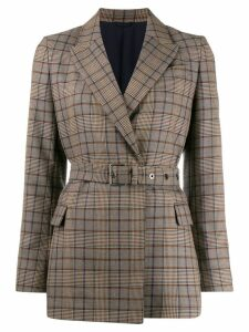 Brunello Cucinelli plaid belted blazer - Brown