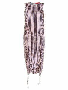 Eckhaus Latta gathered striped dress - Neutrals