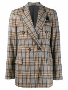 Brunello Cucinelli double-breasted check blazer - Grey